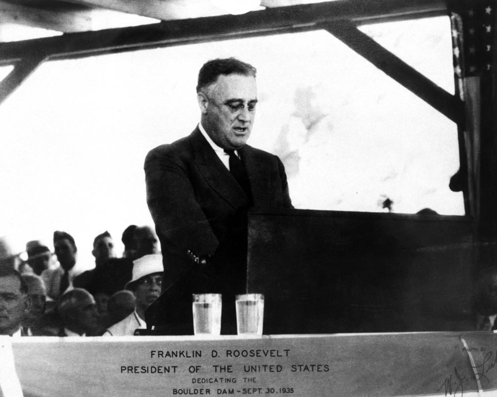 Franklin D. Roosevelt at Hoover Dam