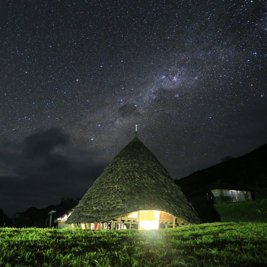 House with night sky